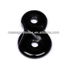 Hot Sale Fashional Black Agate Double Donut Hole Pendants as Gift & Decoration / Wholesale Pendant