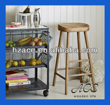 Rustic Solid Wooden Long Leg Stool