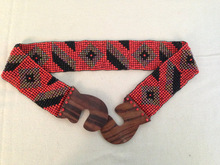New Handmade Red Multi Color Ethnic Hippie Chic Tribal Aztec Chevron Stretch Glass Beads Belt With Wood Buckle