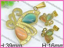 Powell Stainless Steel Men Silver Jewelry Artificial heart eternal tahitian pearl jewelry set