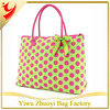 Lime Green and Fuchsia Quilted Polka Dot Large Tote Bag