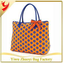 Orange and Royal Blue Quilted Polka Dot Large Tote Bag