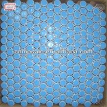 blue round ceramic mosaic tiles for swimming pool