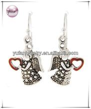 Antique Silver Tone Red Epoxy Lead&nickel Compliant Metal Marcasite Look Angel Wing W heart Dangle Fish Hook Earring