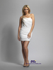 DCD043 most popular white beaded one shoulder knee length sheath 2014 chiffon cocktail dress