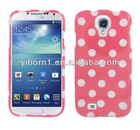 High Quality Polka Dots White Pink Rubber Feel Skin Case Cover for Samsung Galaxy S4 IV L720 SPH-L720(free screen protector)