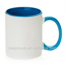 Factory directly sell! blank color sublimation mug , inner and rim color sublimation mugs factory