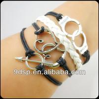 2014 stock sale handmake antique infinity symbol bracelet arrow charm braided leather bracelet JB1426