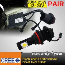 Pair High Power 9004 25W Led Head Light 1800lm High Beam or 1600lm Low Beam