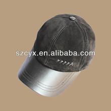 Men's Fashion Sheepskin Suede Baseball Casual Cap Adjustable Genuine Leather Ha