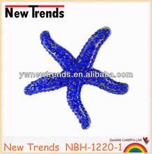 Elegance alloy crystal starfish brooch for wedding decoration