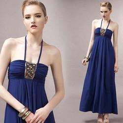 N1431 Roman Holiday Resort Beach Dress Sexy Halter Bra Dresses Woman Long Dress