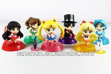 """6pcs Set Pretty Soldier Sailor Moon Mars Jupiter Venus Mercury 2"""" Goggle Figure Loose"""