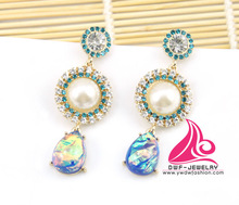 New Vintage Unique Pearl and Rhinestone Ring Type Earrings