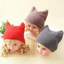 china wholesale new fashion cotton cat beanie baby cap
