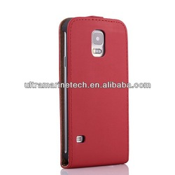 red color leather flip case for samsung galaxy s5 classical case