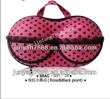 Rose lace& Black dots travel bra bag
