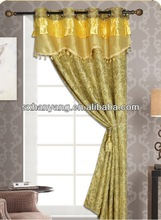 100% polyester yarn dyed jacquard window curtain with fashion valance