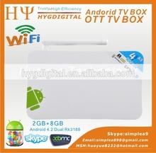 Factory directly high quality RK3188 Android 4.2 smart internet set top tv box Ram 2GB, Rom 8GB smart internet set top tv box