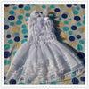 Wholesale boutique white chiffon dress newborn baby girls birthday party suspender fluffy dresses