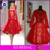Free Shipping Knee Length Lace Long Sleeve Evening Dress Red Short(ED-EN248)