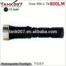 shenzhen factory Cree T6 18650 800lumens LED blue point flashlight rechargable TANK007 TC07 a2291