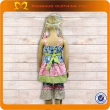 kids girl clothes summer 2014 cotton vintage pattern dress ruffle pant set for girls