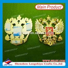 2014 New design eagle shape label emblem,custom cast metal nameplate with gold plated