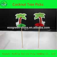 Hawaiian Luau Hula Garden Beach Party Palm Tree Cocktail Sticks Picks
