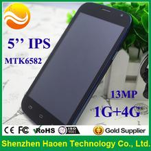 TOP10 Smartphones!!5 inch OEM Custom Smart phones with mtk6582, 1G RAM+4G ROM, 13mp Cam, Mobile phone GPS