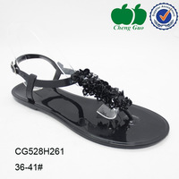 2015 New arrival high quality black strappy flower decorative cute jelly beach eva wedge flip flop sandals for adults girls