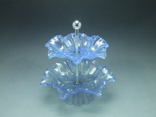 2 Layers Decorative Glass Plastic Crystal Fruit Plate