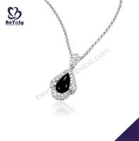 Black onyx fashion sterling silver cz necklace jewerly