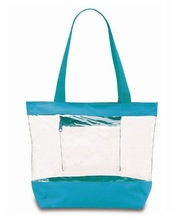 clear pvc tote bag with color trim
