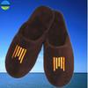 embroidery logo brown colour coral fleece slipper