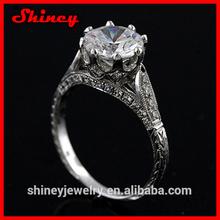 2CT Forever Brilliant Moissanite Vintage Style Pave Set Diamond 14k White Gold Engagement Ring