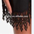 Moda encaje negro de corte de la tela, tela de algodón para las señoras vestido