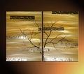 زخرفية نباتية ذهبية شجرة مجردة قماش اللوحة