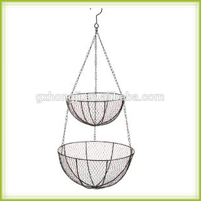 2 Tier Metal Fruit Basket Hanging Wire Mesh Baskets Cheap