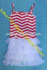 New edition stripe princess fashion design small girls dress red white striped dress for girls
