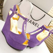 SE1016 Summer 2014 The New Fish Mouth High-heeled Platform Thick Waterproof Diamond Lady Cheap Summer Sandals Wedges