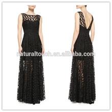Nuovo semi- maglia pizzo e indietro profonda v scollatura design immagini di abiti da donna casual( ylq03325)