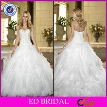 edw202 hohe qualität rüsche ballkleid strass perlen mieder mit langer schleppe marokkanischen hochzeitskleid
