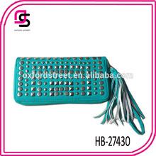 2014 silver rivet PU zip round leather tassels for handbag lady wallet