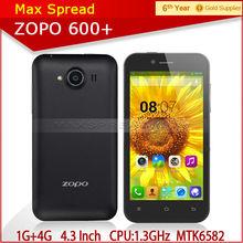 latest original Zopo ZP600+ 1.3 GHz Quad core cortex A7 CPU 4.3 inch MTK6582 brand mobile phone