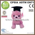 Pós-graduação do cão de pelúcia rosa cachorro brinquedo vestindo um chapéu preto