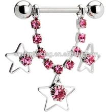 custom Pink Gem Star Gazer Nipple Ring Star nipple shield Piercing