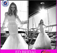 Charming German Special Design White Long Sleeve Tulle Mermaid High Neck Wedding Dresses
