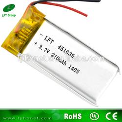 made in china factory 451635 3.7v 210mah lipo battery used ups batteries
