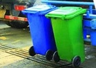 Blue, orange, red, 240 liter waste bin, mobile garbage can, Plastic trash container